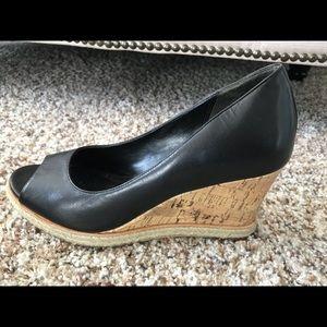 Cole Haan Black peep-toe wedge 7.5